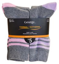 GEORGE LADIES THERMAL SOCKS - 5 PAIRS