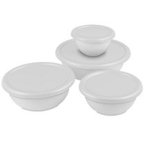 Sterilite 8 Piece Covered White Bowl Set