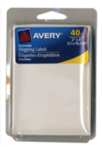 "Avery® White Removable Shipping Labels 06580, 2"" x 4"","