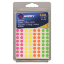 "Avery® Assorted Removable Colour Coding Labels 06720, 1/4"" Round"