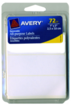 "Avery® White Removable Labels 1"" x 3"" - 72 pieces"