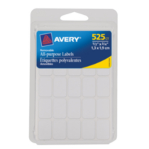 "Avery® White Removable Labels 06737, 1/2"" x 3/4"""