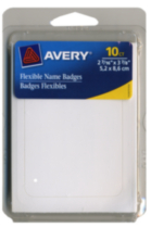Avery- Étiquettes Badges Flexibles blanches 06761, 2-7/16 po x 3-7/8 po