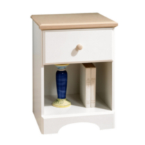 South Shore - Table de chevet, collection Summertime, fini érable naturel et blanc solide