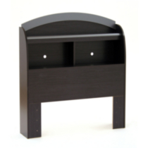 South Shore Cosmos Collection Twin Size Black Onyx and Charcoal Bookcase Headboard