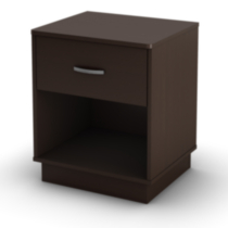 South Shore Logik 1-Drawer Night Stand Brown Chocolate