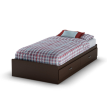 South Shore Logik Twin Mates Bed (39'') with 2 Drawers Brown