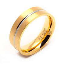 TITANIUM  GOLD PLATED RING WITH CENTER GROOVE 13