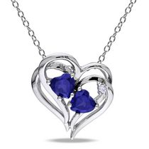 Tangelo 1.13 Carat T.G.W. Created Blue Sapphire and Diamond-Accent Sterling Silver Double-Heart Pendant; 18""