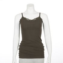 George Women's Ribbed Lace Cami Olive L/G