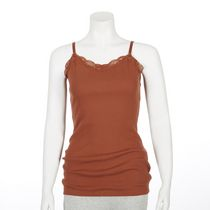 George Women's Ribbed Lace Cami Red XS