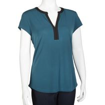 George Women's Y-neck Top Teal XL/TG