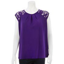 George Women's Top with Lace Cap Sleeves Purple L/G