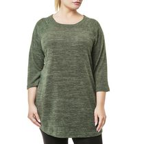 Danskin Now Plus Size Women's Long Sleeved Hacci Tunic Olive 4x