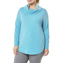 Danskin Now Women's Plus Size Cowl Neck Tunic Teal 1x