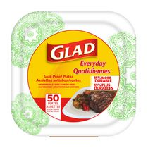 Glad Soak Proof Square Disposable Paper Plates