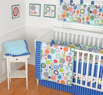 Sumersault Simple Circles Navy Crib Set