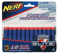 12 fléchettes de rechange NERF N-STRIKE ELITE Couleurs assorties
