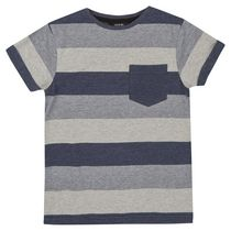 George British Design Boys Navy Marl Stripe T Shirt 16