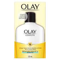 Olay Complete All Day Moisturizer with UV Protection SPF 15 Oil-Free Lotion for Sensitive Skin, Vitamin E & Aloe