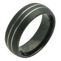 BLACK TUNGSTEN RING WITH LINES 11