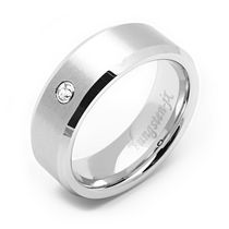 Rex Rings Men's Tungsten Long lasting Durable Metal Ring with a White Cubic Zirconium 8.5
