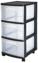 Sterilite 3 Drawer Black Medium Cart