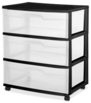 Sterilite Wide 3 Drawer Black Cart