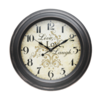 Plastic Live Love Laugh Wall Clock 11.25''/28.8CM