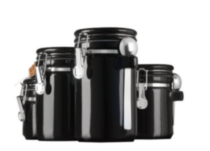 4 Piece Ceramic Black Canisters Set with Stainless Steel Spoons