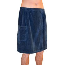 Radiant Sauna Men's Spa & Bath Navy Blue Terry Cloth Towel Wrap