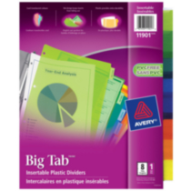 Avery® Big Tab™ Insertable Plastic Dividers 11901, 8-Tab Set