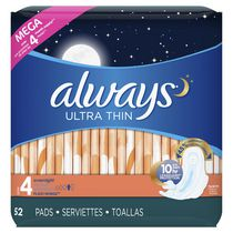 Always Ultra Thin Overnight Unscented Pads with Wings