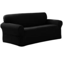 Pixel Slipcover Loveseat Black