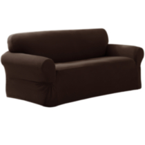 Pixel Slipcover Loveseat Dark brown wood
