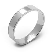 Jonc d'alliance en or blanc de 10 ct de Rex Rings pour hommes 11