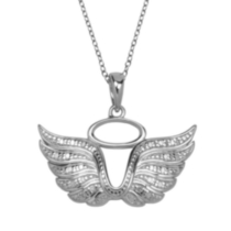 Sterling Silver Angel Wing Pendant with Diamond Accent