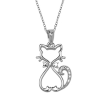 Sterling Silver Cat Pendant with Diamond Accent