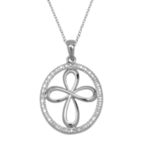Sterling Silver Oval Cross Pendant with Diamond Accent