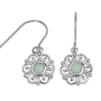 Sterling Silver Genuine Green Jade Fishhook Earrings