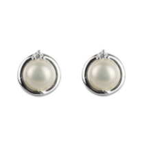 Sterling Silver Earrings with Pearl and Cubic Zirconia