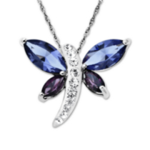 Luminesse Sterling Silver tanzanite & amethyst Dragon Fly Pendant