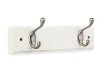 "Stanley 12"" Wood rail White Finish and Satin Nickel Hooks"