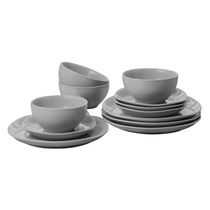 Mainstays 12-Piece Square Dinner Set Grey