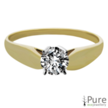 0.20 ct - Round Brilliant Diamond Solitaire Ring Yellow Gold 8.5