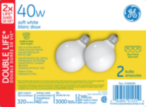 GE soft white 40 watt G25 2 pack