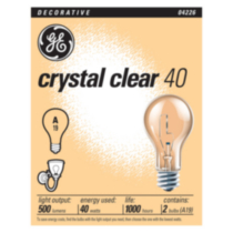 GE Crystal Clear 40W A19 4 pack