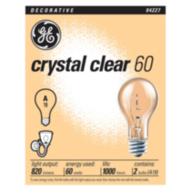 GE 60W Crystal Clear A19 4pk