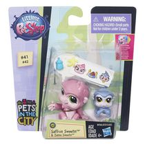 Figurine Saffron Sweetin et Zanna Sweetin emballage duo griffé de Littlest Pet Shop