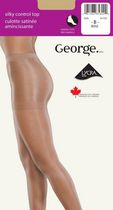 George Ladies' Silky Control Top Cotton Gusset Sandal Foot Pantyhose Beige C